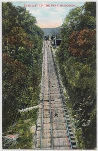 Hong Kong (China) Tramway up the Peak ca. 1910