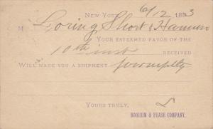 Product in notification postal card, Boorum & Pease Co , New York City , PU-1893