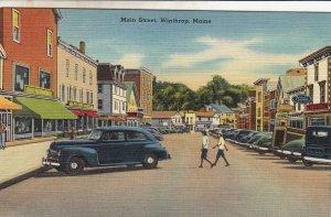 P1758 Maine Winthrop Main street many old cars Vintage postcard
