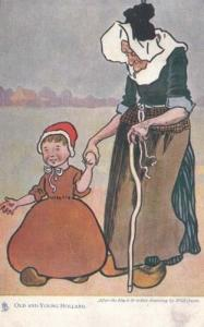 Holland Dutch Old Age Pensioner vs Lady Young Child Costume Fashion Postcard
