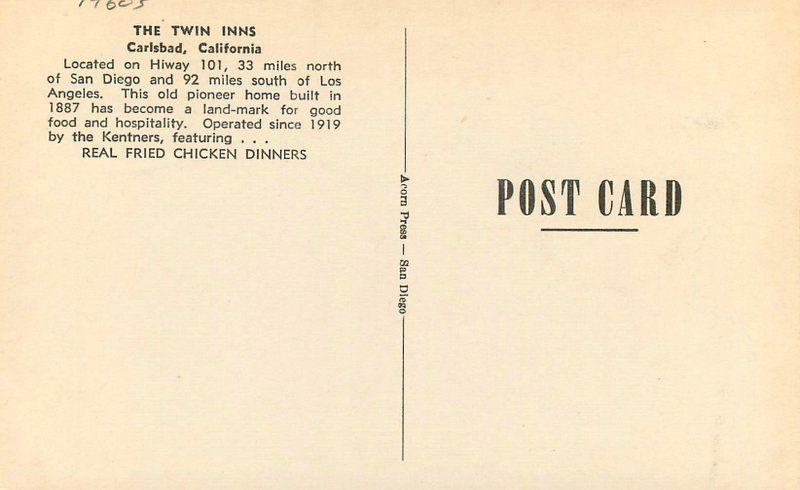 Acorn Press Carlsbad California 1960s Twin Inns roadside San Diego postcard 8505