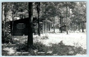 RPPC  NORWAY, Michigan MI ~ MARION PARK CABINS c1940s Dickinson County Postcard