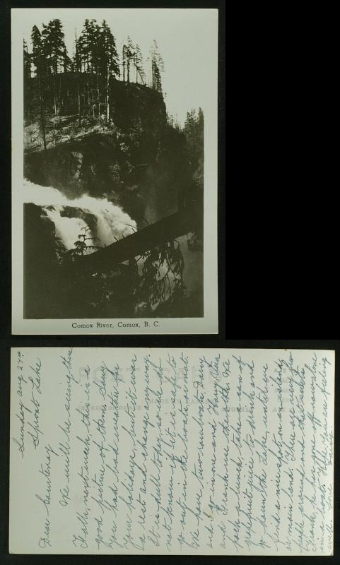 Comox River Comox BC  showing falls RPPC c 1943