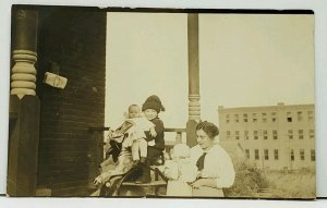 RPPC Posing the Children On Rocking Horse Is a Challenge for Photo Postcard H13