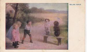 Children astonished to see dogs sitting on bench, Willing Pupils, 10-20s