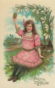 EASTER, 1900-10s; Greeting, Young lady sitting by nesting hen holding green egg