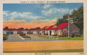 Bush's Auto Court, Mount Pleasant, Michigan, Early Linen Postcard, Unused