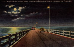 Florida Tampa Moonlight Over Gandy Bridge Spanning Tampa Bay 1954 Curteich