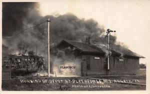 BLYTHEVILLE,  MISSOURI BURNING OF TRAIN DEPOT-1913 RPPC REAL PHOTO POSTCARD