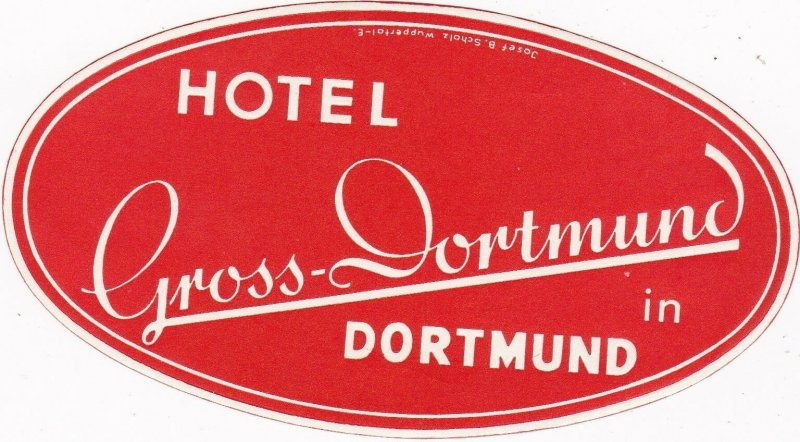 Germany Dortmund Hotel Gross Dortmund Vintage Luggage Label sk3215
