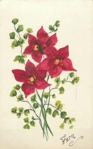 Hand painted flowers signed Fern early greetings postcard