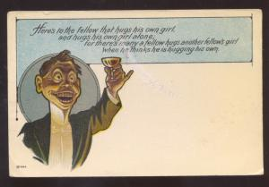 HERE'S TO THE FELLOW THAT HUGS HIS OWN GIRL DRUNK VINTAGE COMIC POSTCARD