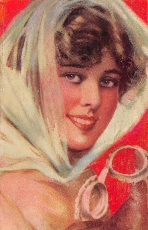 Beautiful Lady Woman Dame, Beauty, Veil, Fashion, Postcard