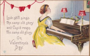 VALENTINE'S DAY, PU-1916; Lady Playing The Piano, Love Still Sings The Same ...