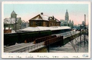 Davenport IA~Passenger Railroad Station~Detroit Publishing #11487~Snowy Day 1907