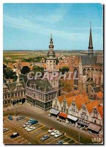 Modern Postcard Furnes Belfort and Corner of the Grand Place