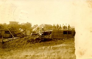 IA - Lisbon, June 7, 1908. Wrecked Barn After Tornado. *RPPC