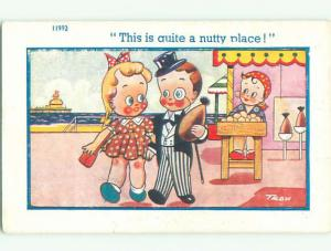 Unused Pre-Linen comic signed NUTTY PLACE - GIRL AND BOY TOURISTS k3410