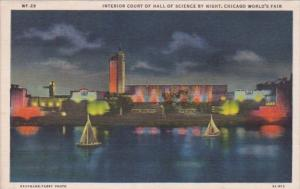 Chicago World's Fair 1933 Interior Court Of Hall Of Science At Night Cur...
