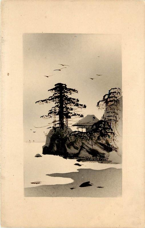 ink wash Postcard Japanese Art Trees Cliff, birds beach and House vignette