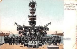 Group of Officers and Crew on US Battleship Military Battleship Unused
