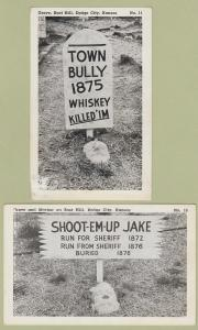Boot Hill Comic Postcards Dodge City, Kansas Graves, Markers Town Bully