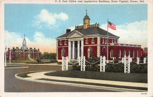 U.S. Post Office & State Capitol, Dover, Delaware, early postcard