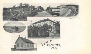 Views of Encinitas, CA Noonan's Point, Derby House c1900s Vintage Postcard