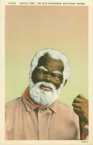 Uncle Tom An Old-Fashioned Southern Negro Vintage Linen Postcard Black Americana