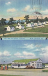 Vermont Burlington Champlain Park Cabins & Gas Station 1941 Curteich sk5586