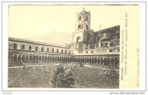 Italy Monreale-Convento dei Benedettini-Il Veduta del Chiostro col Campanile ...