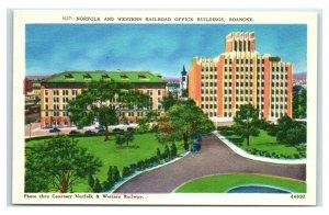 Postcard Norfolk & Western Railroad Office Building, Roanoke VA W41