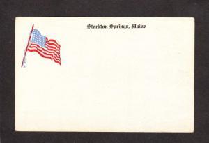 ME Stockton Springs Maine Postcard Vintage US Flag American Patriotic Postcard