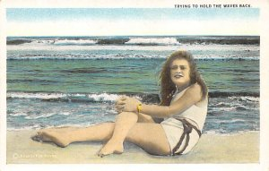 Bathing Beauty Post Card Trying to Hold the Waves Back Unused