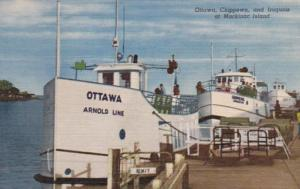 Michigan Mackinac Island Arnold Line Motor Vessels Ottawa Chippewa and Iroquo...