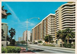 Florida Miami Beach Collins Avenue On Miami Beach Looking North