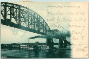 1906 St. Louis MO Postcard Merchants Bridge Riverboat Mississippi River Scene