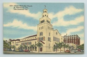 Christ Methodist Church St Petersburg Sunshine City Florida FL Postcard