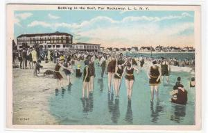 Beach Crowd Far Rockaway Long Island New York 1937 postcard
