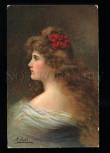134564 Lady w/ LONG HAIR in White by Angelo ASTI vintage PC