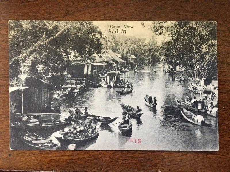 Canal View with boats, Siam, Thailand Postcard #50 d8
