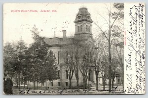 Juneau WI~2nd Empire Courthouse (Gone Now)~Mansard Tower Roof~Widow's Walk~1907