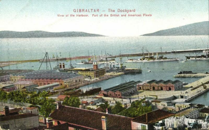 gibraltar, The Dockyard, Harbour, Part of British and American Fleet (1910s)