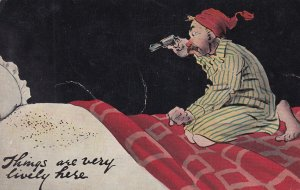 COMIC, PU-1910; Man in sleeping gown holding pistol at bed bugs on mattress