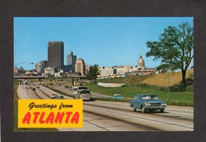 GA Greetings From Atlanta Georgia Postcard Old Cars Bus Bank Bldg. City Hall