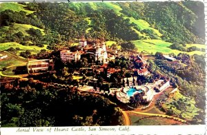 Postcard San Simeon California Hearst Castle Aerial View of Grounds Posted