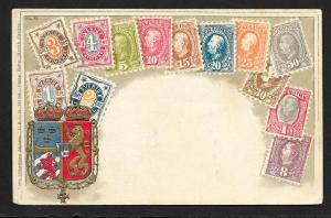 SWEDEN Stamps on Postcard Embossed Shield Unused c1905