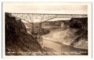 1932 RPPC Jerome Bridge, Snake River Gorge, Twin Falls, ID Postcard