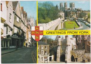 Postcard Yorkshire York Greetings from York 3 views