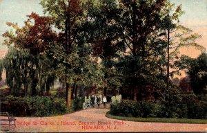 New Jersey Newark Branch Brook Park Bridge To Claire's Island 1910